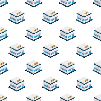 Isometric shop or market store front exterior facade pattern. vector illustration.