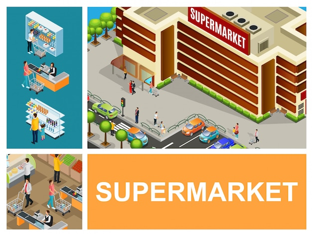 Isometric shopping center composition with supermarket building cars on parking cashier customers pushing carts in hypermarket hall