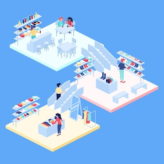 Isometric shopping center or mall