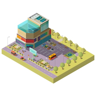 Isometric shopping center with parking area