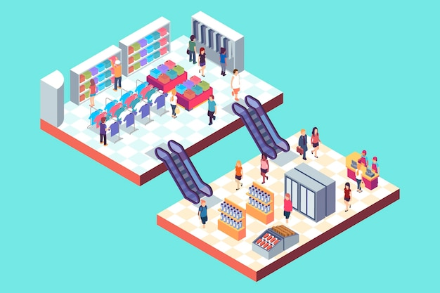 Isometric shopping center
