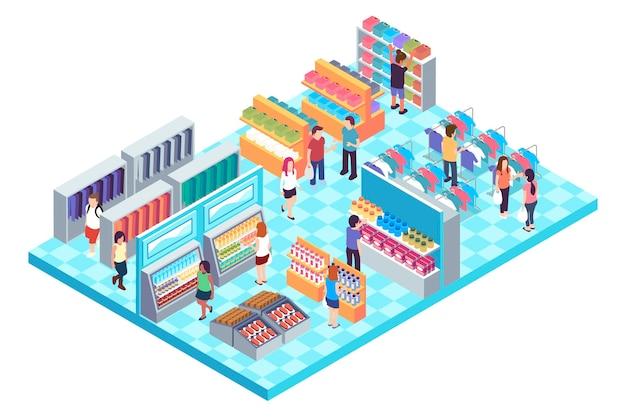 Isometric shopping center