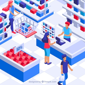Isometric shopping concept with people
