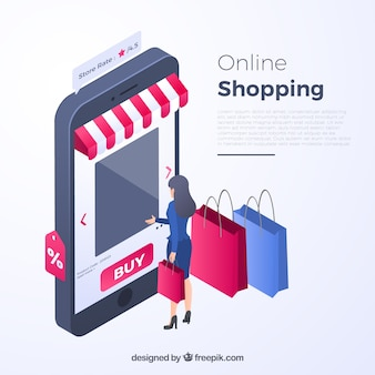 Isometric shopping concept with persons
