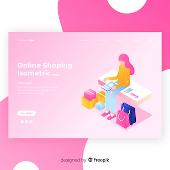 Isometric shopping landing page template