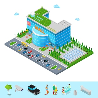 Isometric shopping mall building with 3d cinema park and fountain.