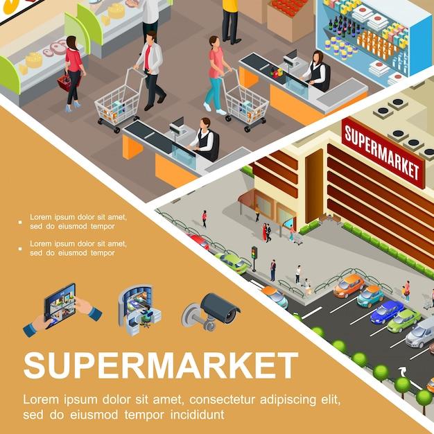 Изометрическая композиция торгового центра со зданием супермаркета на улице, на стоянке для клиентов, кассиром в зале гипермаркета, видеокамерой и системой наблюдения