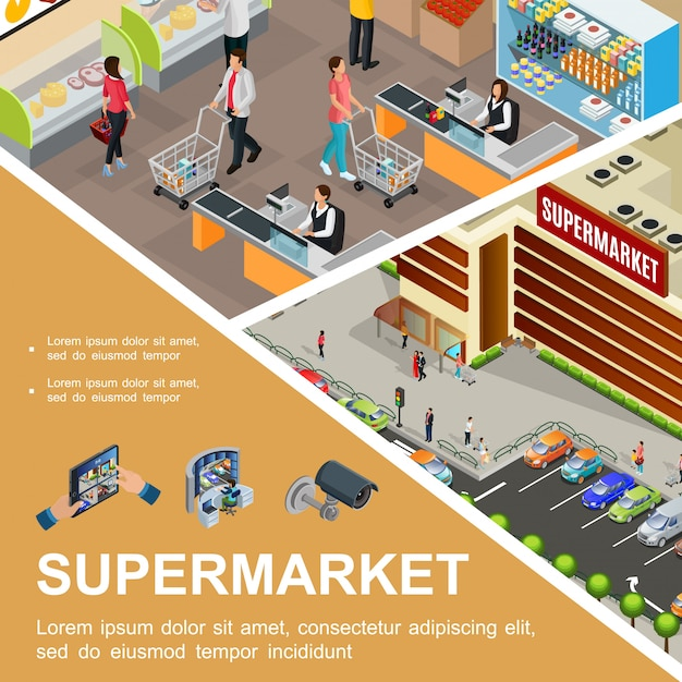 Isometric shopping mall composition with supermarket building exterior cars on parking customers cashier in hypermarket hall video camera and surveillance system