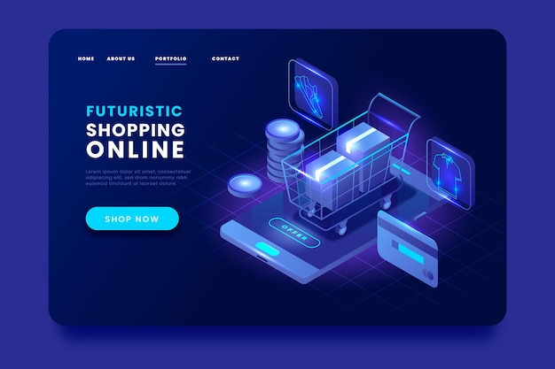 Isometric shopping online landing page cart