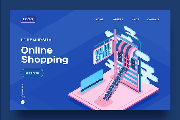 Isometric shopping online landing page template