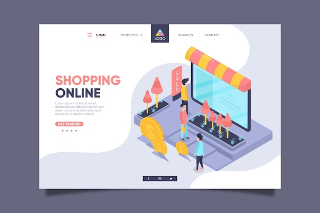 Isometric shopping online landing page