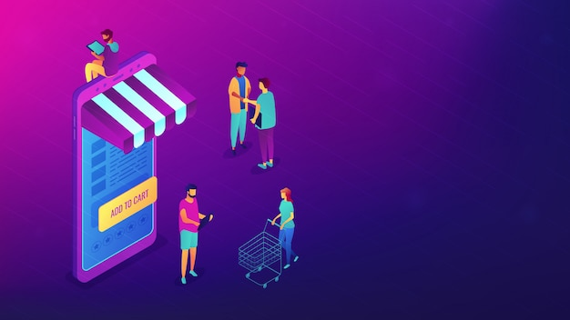 Isometric shopping online with gadgets illustration.