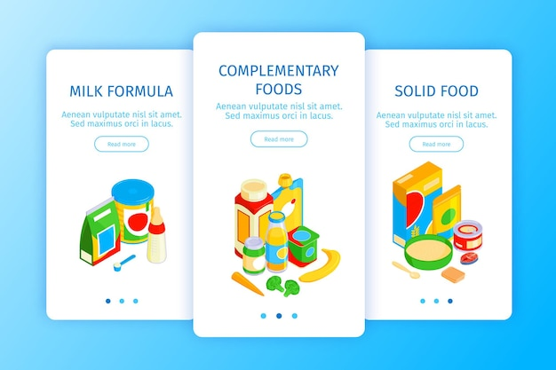 Isometric shops banners set with page switches read more buttons text and food products