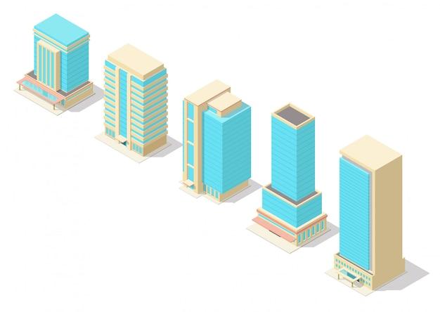 Isometric skyscraper building set