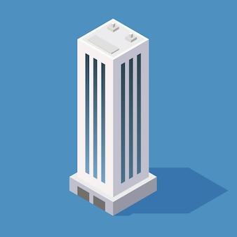 等尺性の超高層ビル。ベクトルイラスト
