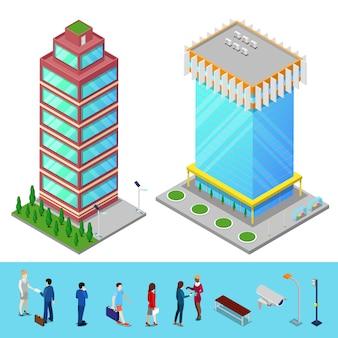 ビジネスの人々と等尺性の高層ビル都市事務所ビル。