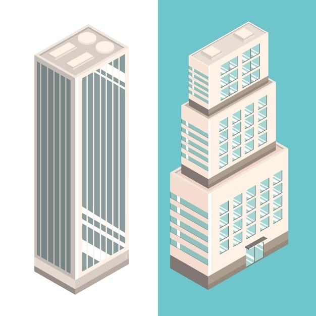 아이소메트릭 고층 빌딩 건물