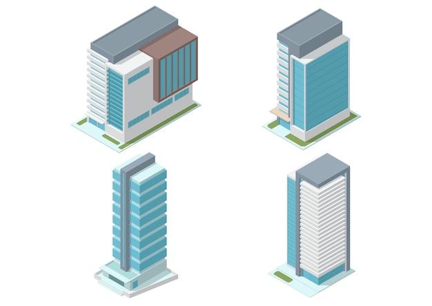 아이소 메트릭 고층 사무실 건물 세트 흰색 절연
