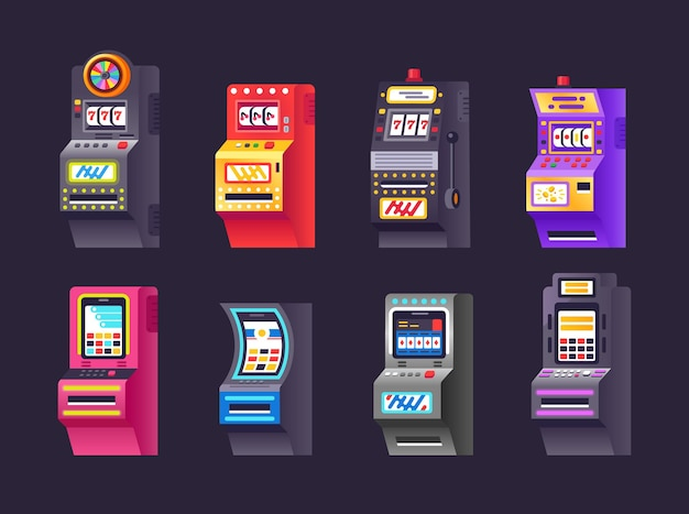 아이소메트릭 슬롯 머신 세트입니다. 돈과 상금을 위한 현대 도박 장치. 화면, 버튼 및 조이스틱이 있는 오락 우연의 일치 빙고 잭팟. 아케이드 게임 재생 만화 벡터