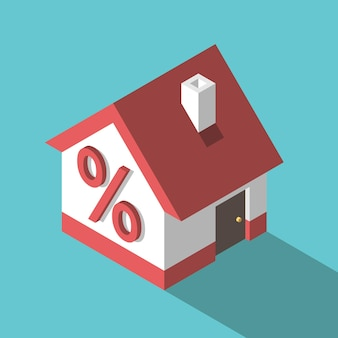 Изометрические небольшой дом или коттедж с красным знаком процента на стене ипотечный кредит на недвижимость