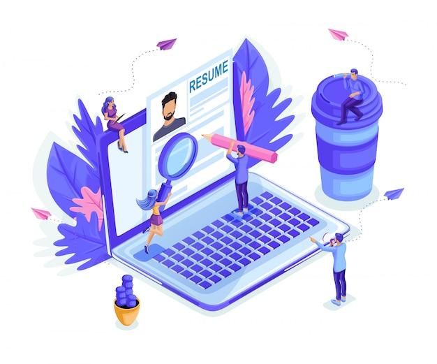 Isometric small people look at the resume together, look for work, recruiting.