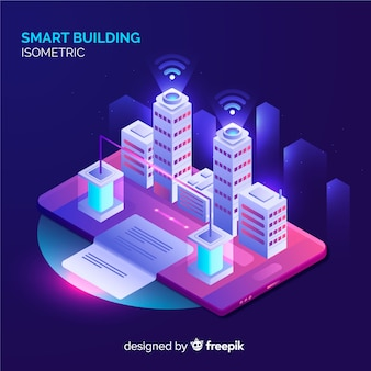 Isometric smart building background