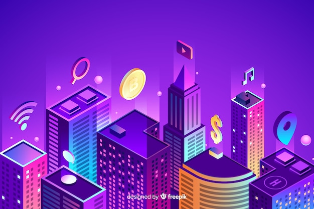 Isometric smart city background
