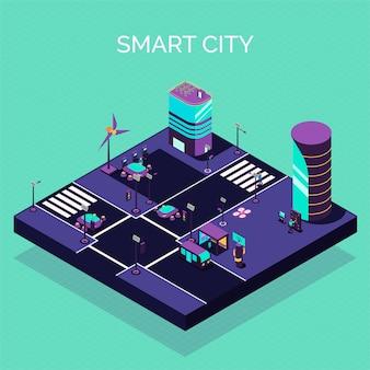 近代的な建物と電気自動車車のベクトル図と未来的な通りのビューと等尺性スマートシティ組成