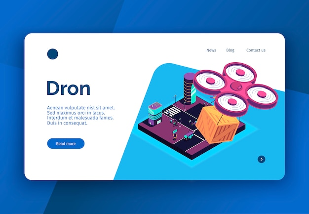 Isometric smart city concept banner website landing page with remotely piloted aircraft delivery images and text vector illustration