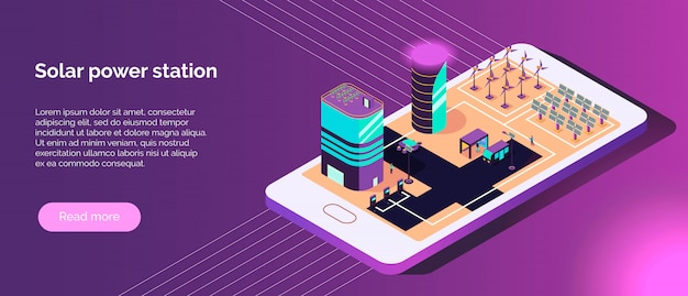 Isometric smart city horizontal banner with text and images of alternative power sources on phone screen vector illustration