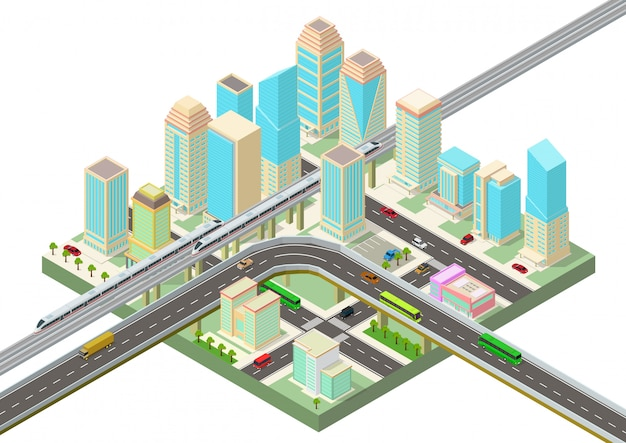 Isometric smart city with skyscrapers, highway and transport