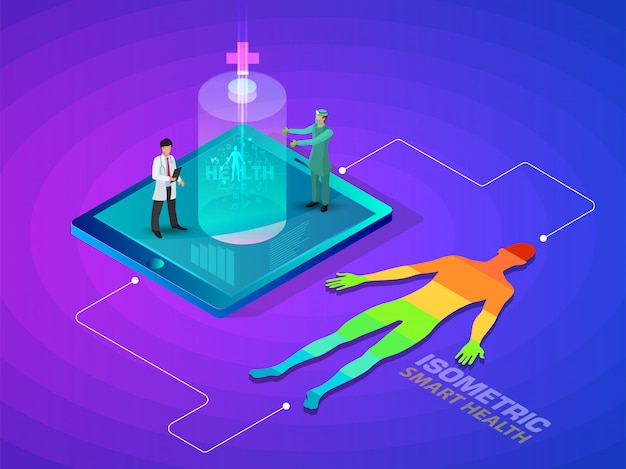 Isometric smart health and medical 3d concept futuristic design illustration - track your health condition through devices network control.