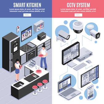 Isometric smart home banner set