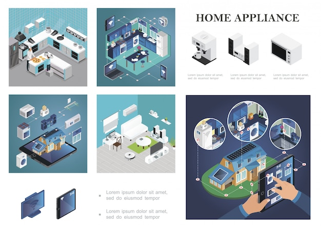 Isometric smart home composition with remote control of household appliances from tablet laptop phone smartwatches kitchen and living room interiors