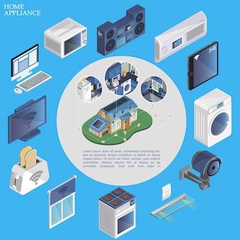 Изометрические умный дом, круглая композиция с пультом управления, микроволновый музыкальный центр, кондиционер, стиральная машина, жалюзи, камера, плита, тостер, телевизор, современные устройства.