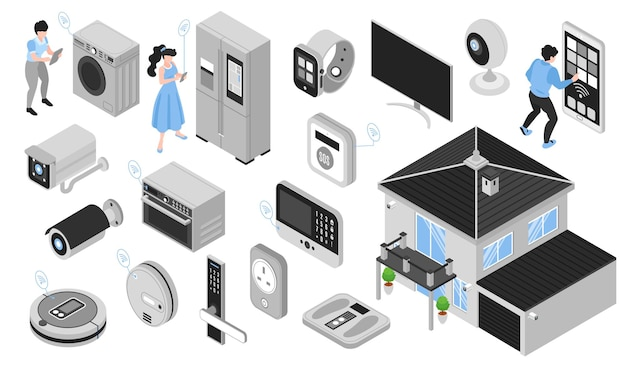Isometric smart home set with isolated electronic gadgets of household appliances