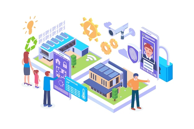 Isometric smart home technology concept