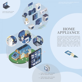 Isometric smart home template with modern household appliances and devices and remote control of domestic appliances from tablet