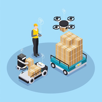 L'industria astuta isometrica colorata con l'uomo nel casco da lavoro giallo tiene d'occhio l'illustrazione astuta di vettore dell'attrezzatura
