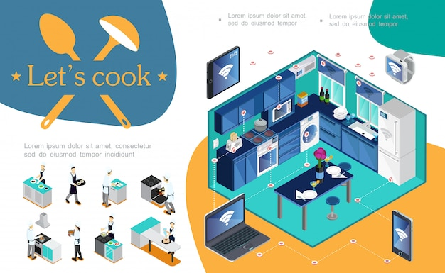 Isometric smart kitchen composition with wireless control of appliances using mobile laptop tablet smartwatches and professional chefs cooking different dishes