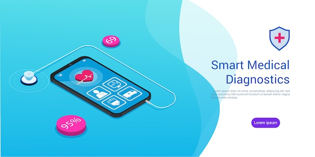 Isometric smart medical diagnostics stethoscope and a smartphone with a medical app, copyspace