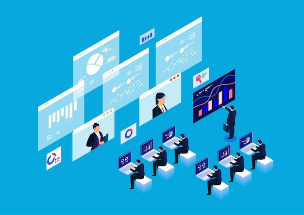 Isometric smart online webinar and online education and training concepts data report research