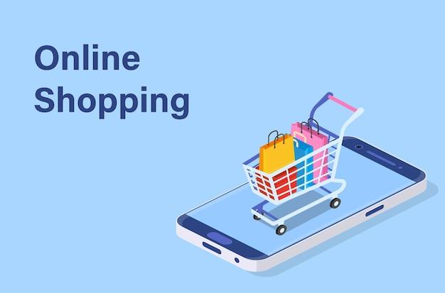 等尺性スマートフォンのオンラインショッピングの概念。