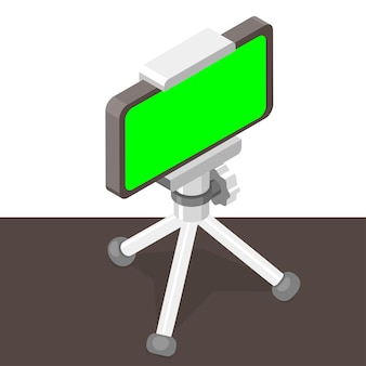 Isometric smart phone with green screen on tripod on table