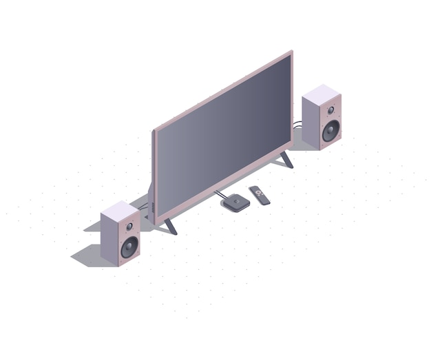 Isometric smart tv with stereo speakers.