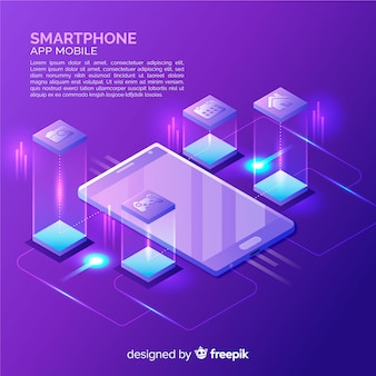 Isometric smartphone background