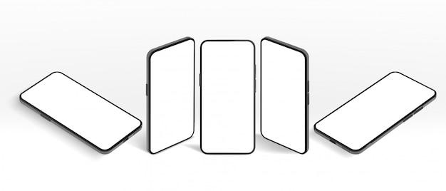 Изометрические смартфон. черный мобильный телефон, современные устройства кадр и безрамочный экран смартфонов 3d шаблон иллюстрации набор. современный телефон под разными углами зрения