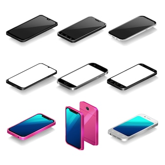 Isometric smartphone illustration set, 3d cell phones in perspective view template