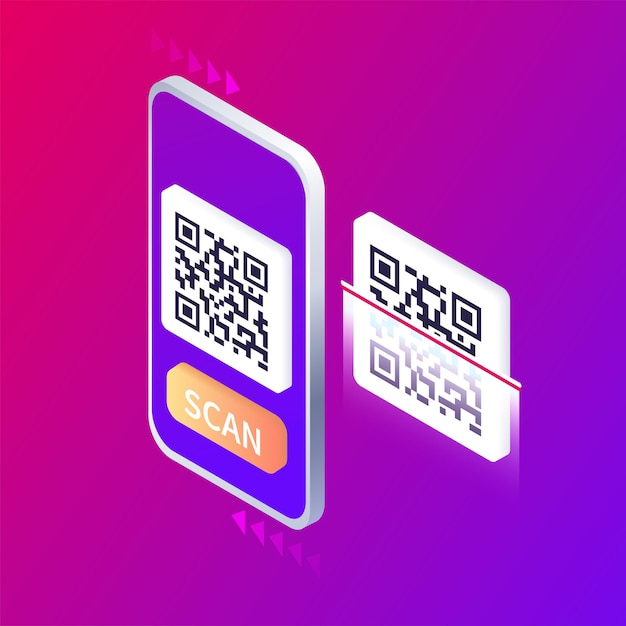 Isometric smartphone scanning qr code download page of the mobile app web banner concept web