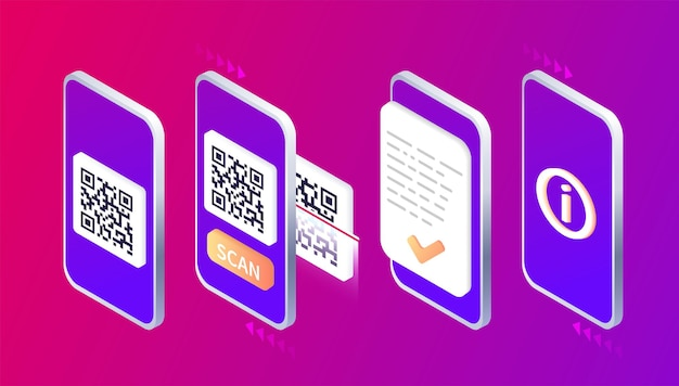 Isometric smartphone scanning qr code download page of the mobile app web banner concept